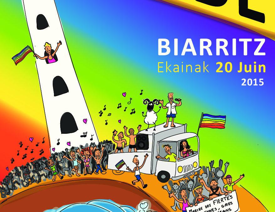 """Manifestación en Biarritz el día 20 de junio con el eslogan: """"Harro eta bat eginik –  Fier(e)s et solidaires"""""""